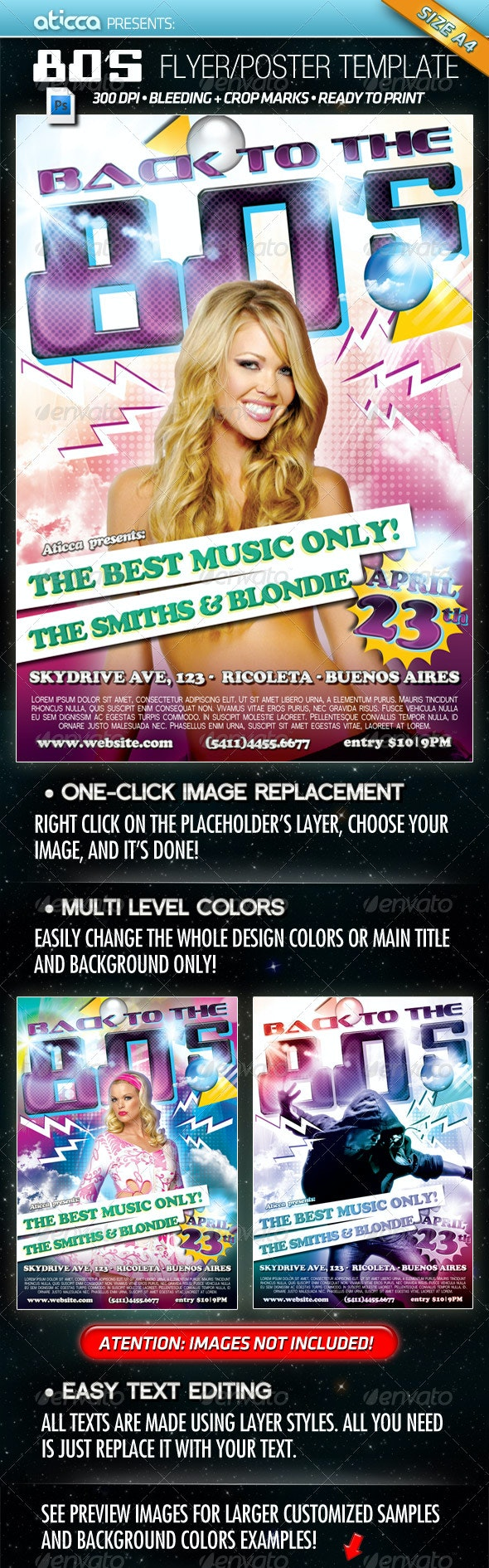 Back to 80's - Flyer & Poster Template - Clubs & Parties Events