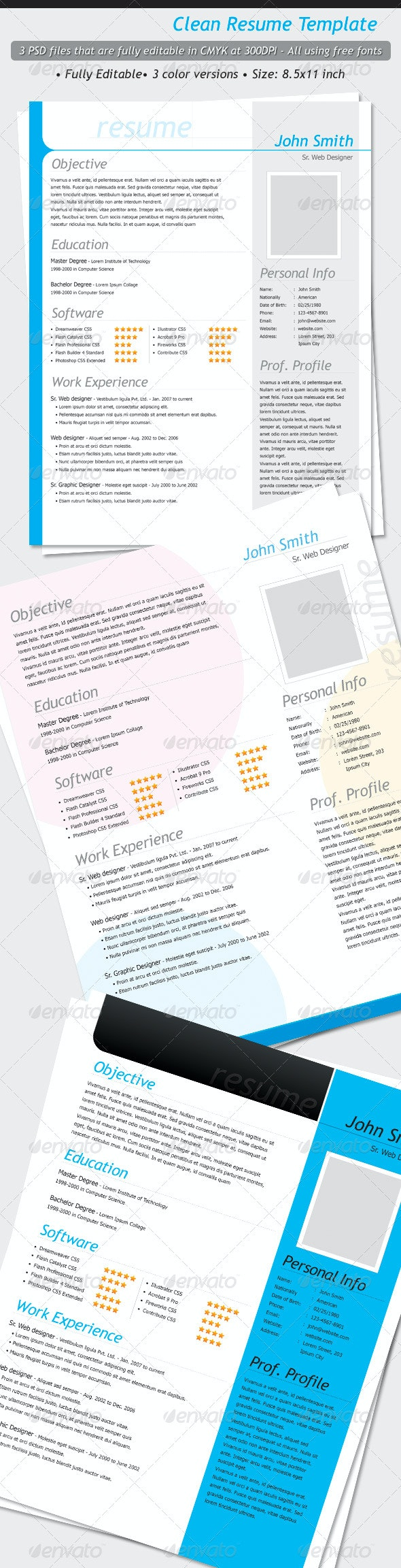 Clean Resume Templates - Resumes Stationery