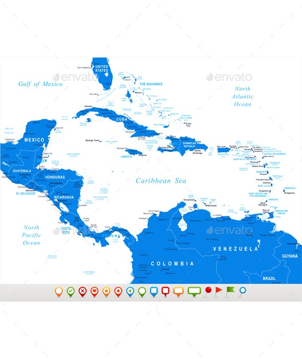 Central America Map and Set with Navigation Icons by ...
