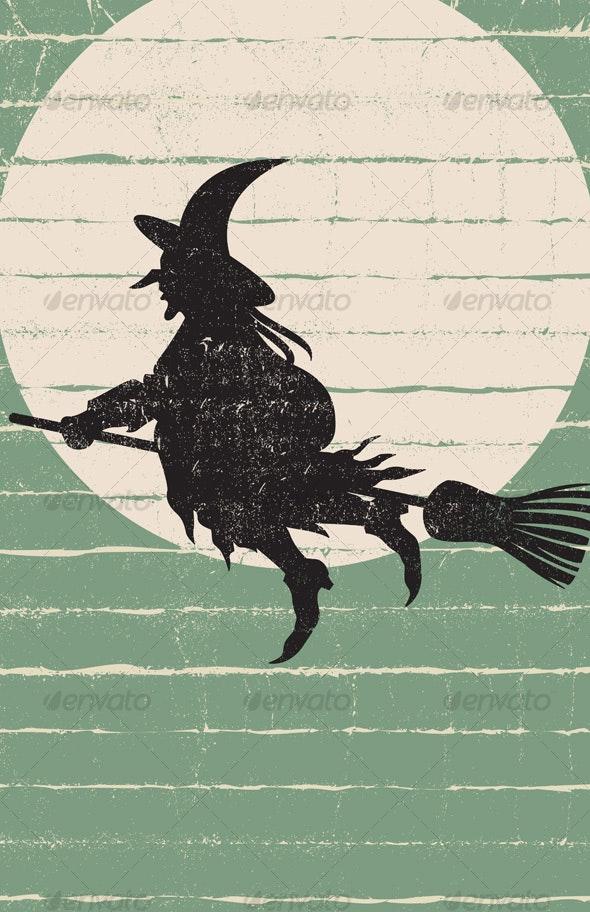 Flying Halloween Witch with moon - Halloween Seasons/Holidays