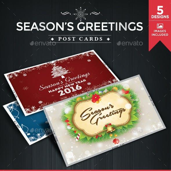 Season Greetings Post Cards - 5 Designs