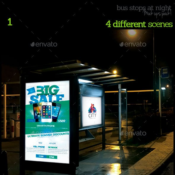 Bus Stops At Night Mock-Ups Pack