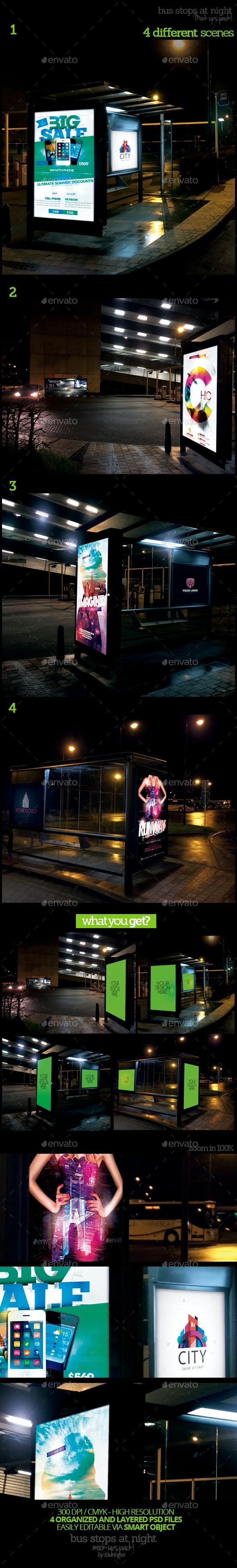 Bus Stops At Night Mock-Ups Pack - Product Mock-Ups Graphics