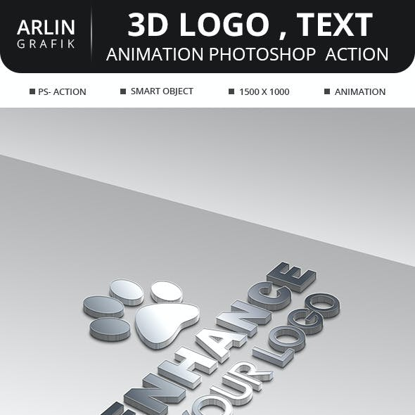 3D Logo , animation  photoshop Action