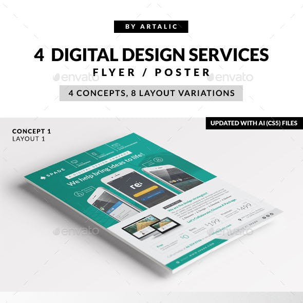 4 Design (Web/App/Graphic) Services Flyer/Poster