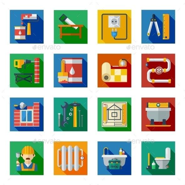 Home Repair Flat Square Icons Set