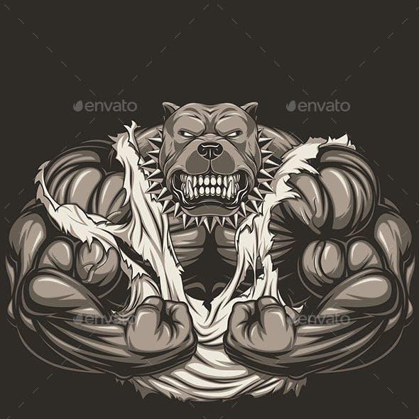 Angry dog bodybuilder