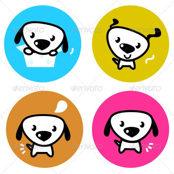 Cute dog colorful buttons isolated on white