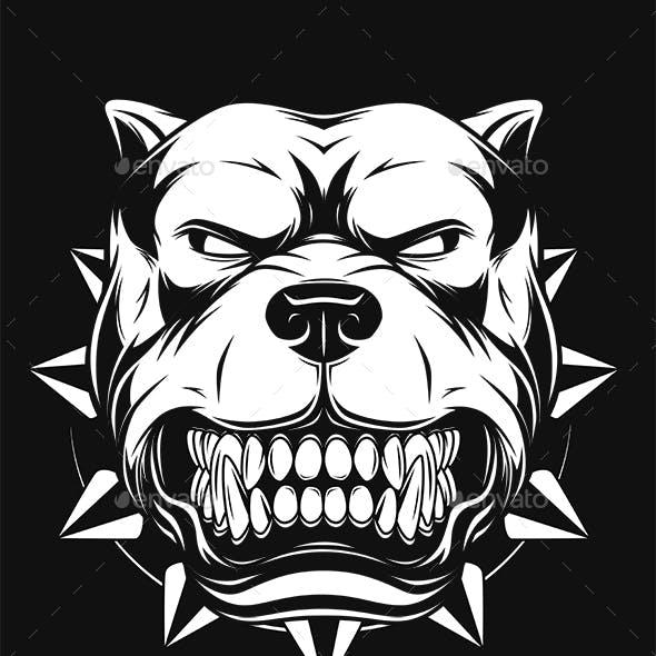 Vector Illustration Angry Pitbull