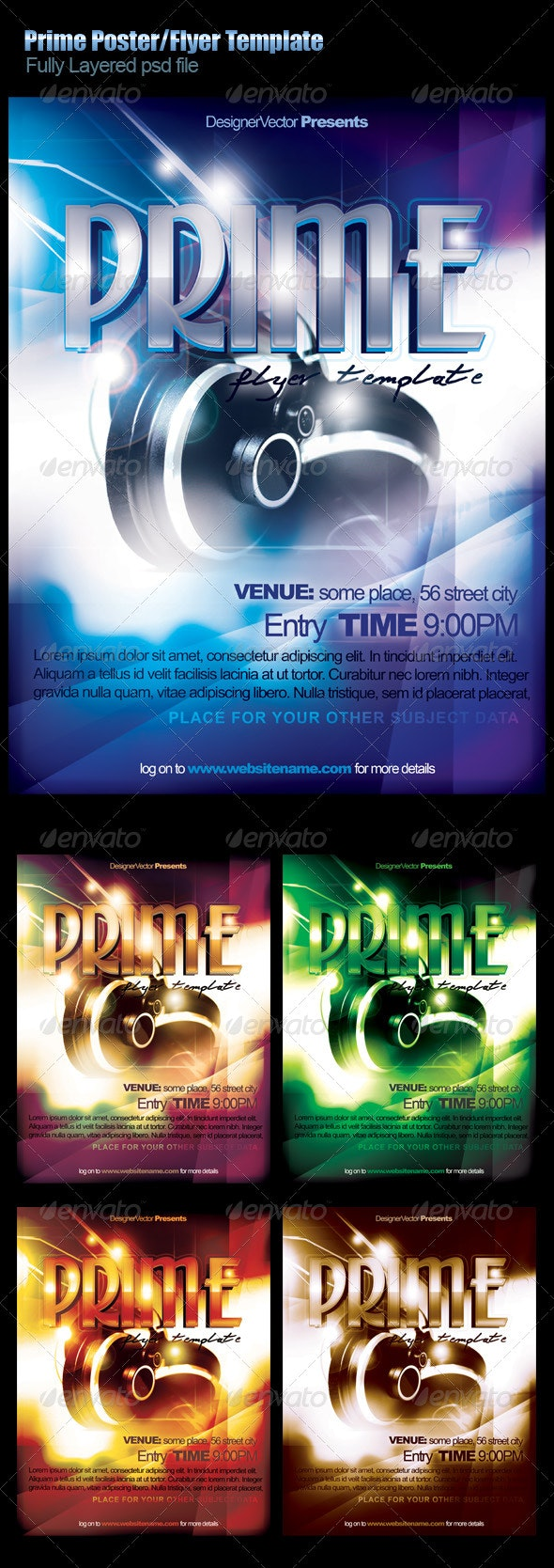 Prime Flyer/Poster Template - Clubs & Parties Events