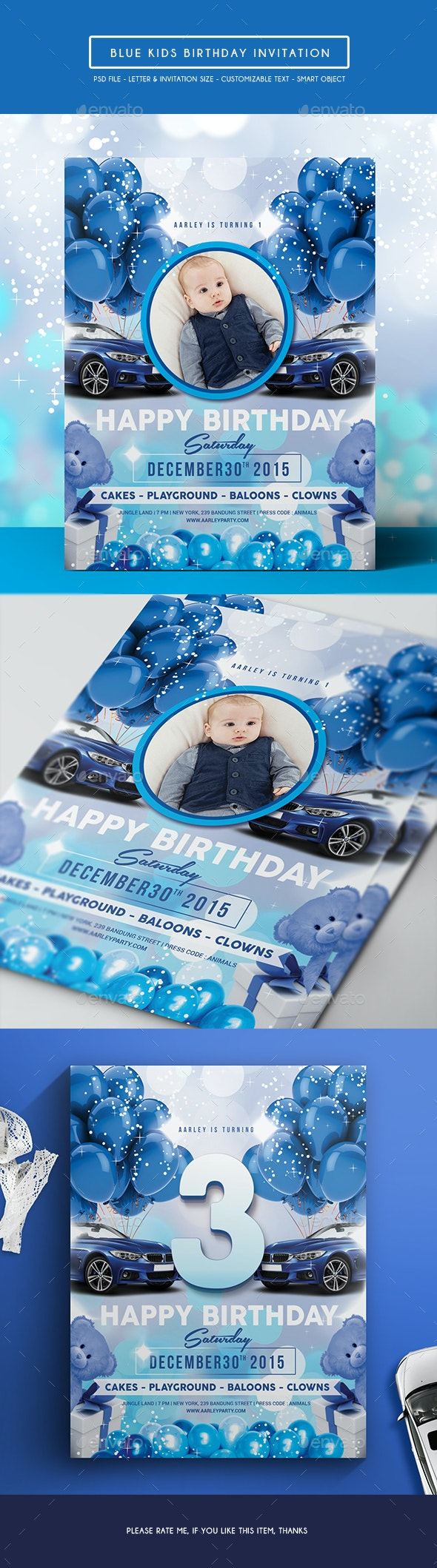 Blue Kids Birthday Invitation - Birthday Greeting Cards
