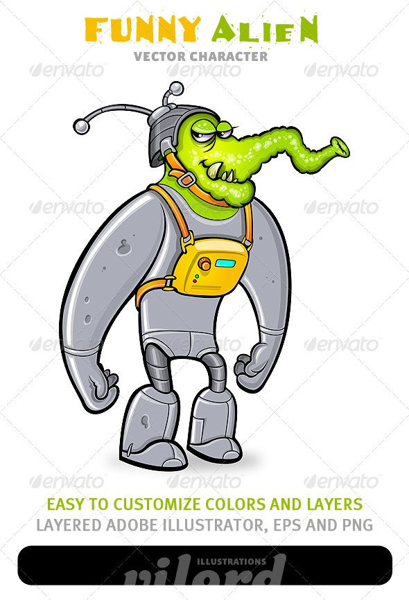 Funny Alien Mascot - Monsters Characters