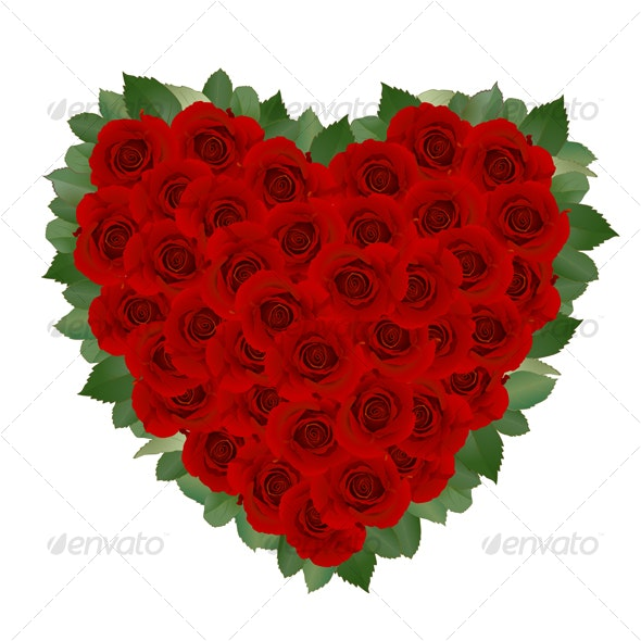 Romantic Card With Red Rose - Characters Vectors