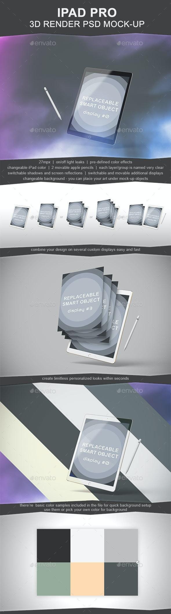Ipad Pro 3D Render Mockup - Mobile Displays