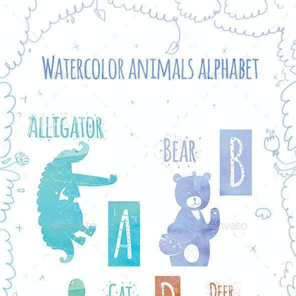 Animal Watercolor Alphabet (A-L)