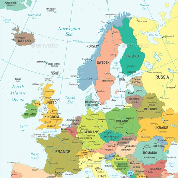Europe  Map - Colored and Grid Illustration.