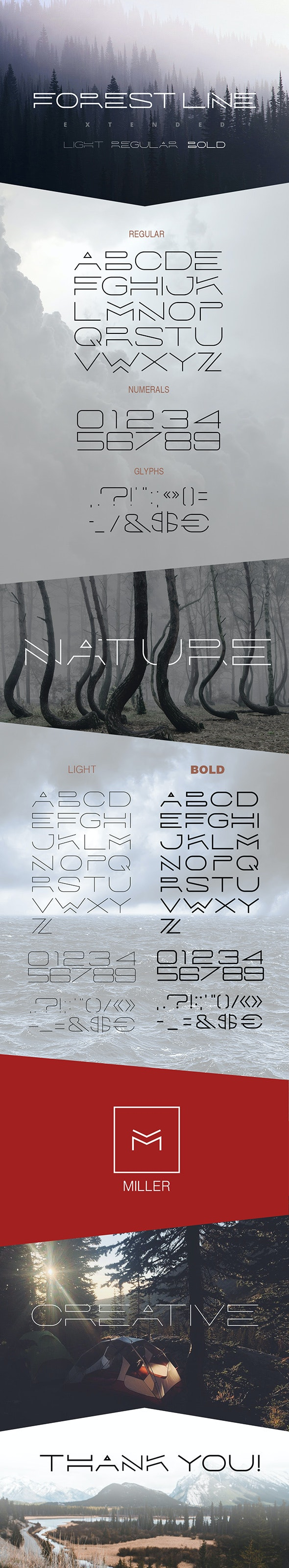 Forest Line Extended Linear Font - Decorative Fonts