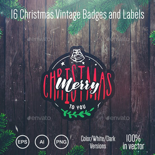 16 Christmas Vintage Badges and Labels