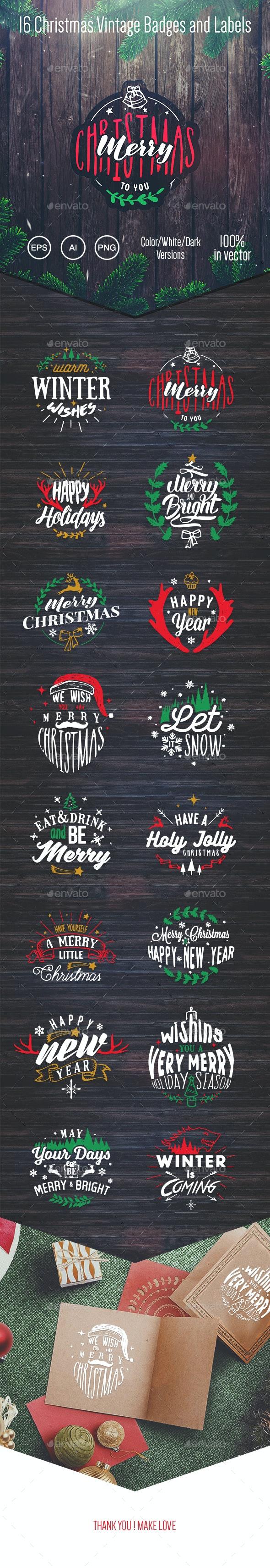16 Christmas Vintage Badges and Labels - Badges & Stickers Web Elements