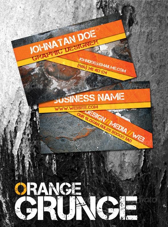 Orange Grunge - Grunge Business Cards