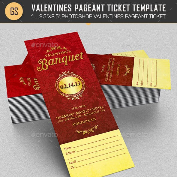 Valentines Pageant Ticket Template