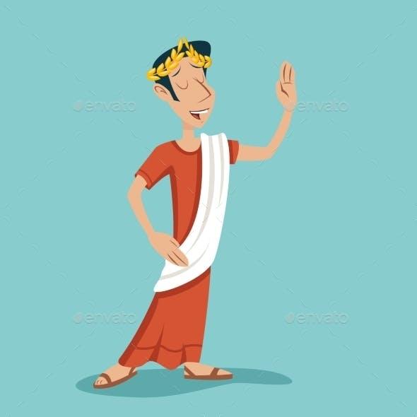 Greek Roman Retro Vintage Businessman Cartoon