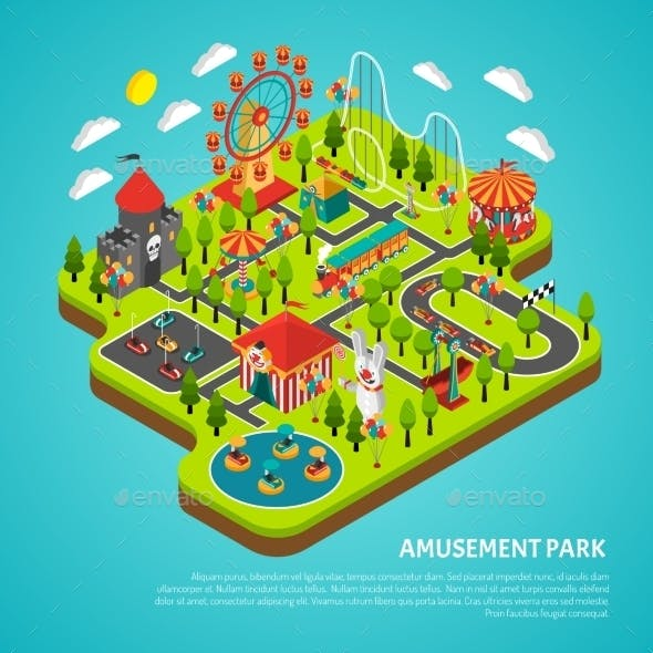Amusement Park Attractions Fairground Isometric
