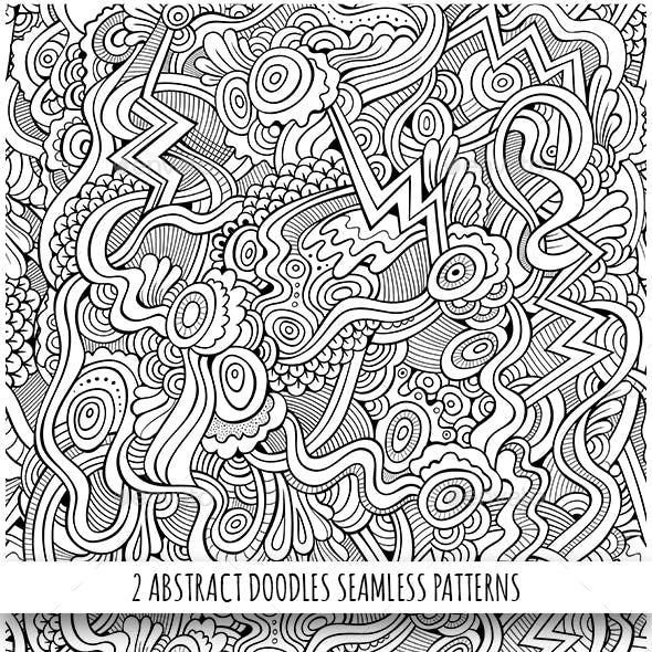 2 Line Art Fantasy Seamless Patterns