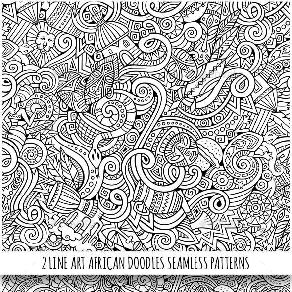 2 African Doodles Seamless Patterns