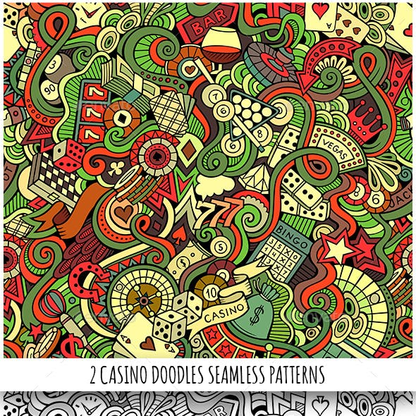 2 Casino Doodles Seamless Pattern