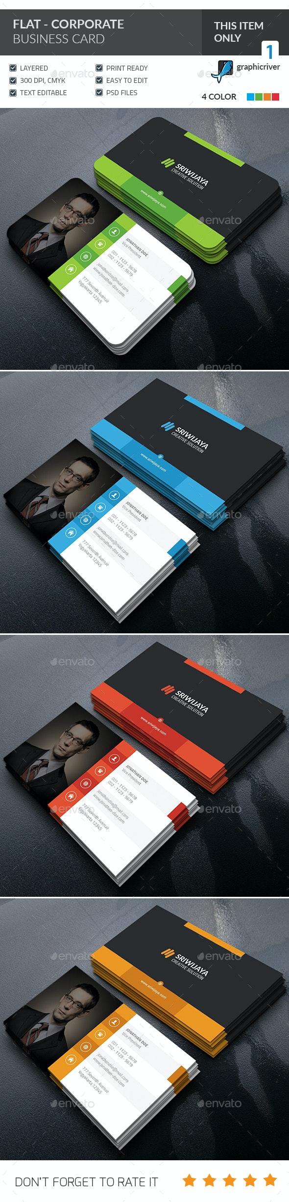 Flat Corporate Business Card  - Corporate Business Cards
