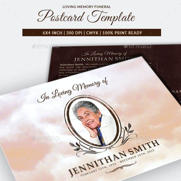 Loving Memory Funeral Postcard Template