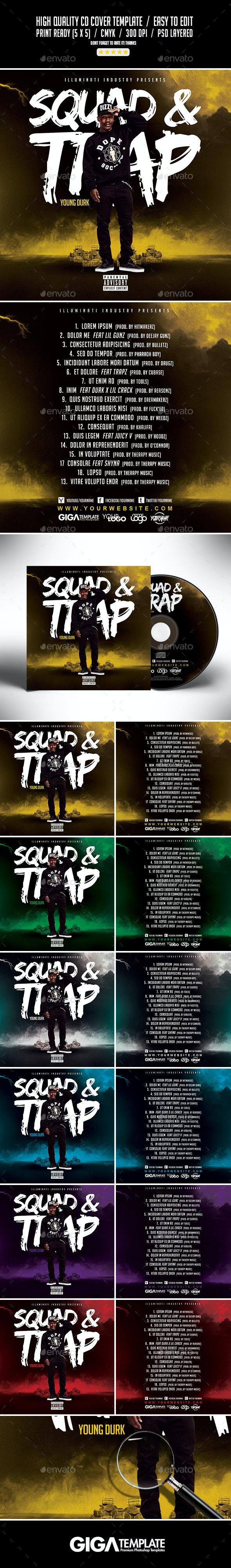 Squad & Trap | Hip-Hop Mixtape Album CD Cover Template - CD & DVD Artwork Print Templates
