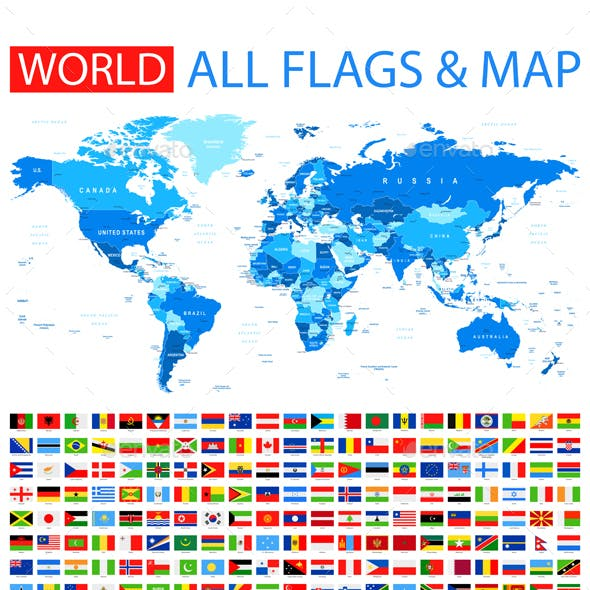 All Flags and World Map