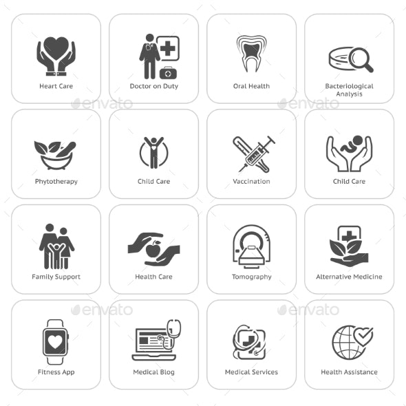 Medical And Health Care Icons Set. Flat Design. - Miscellaneous Icons