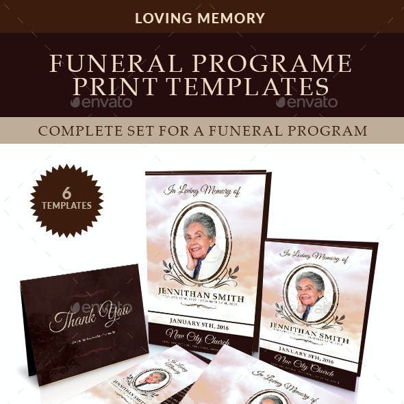 Loving Memory Funeral Print Templates Combo Set