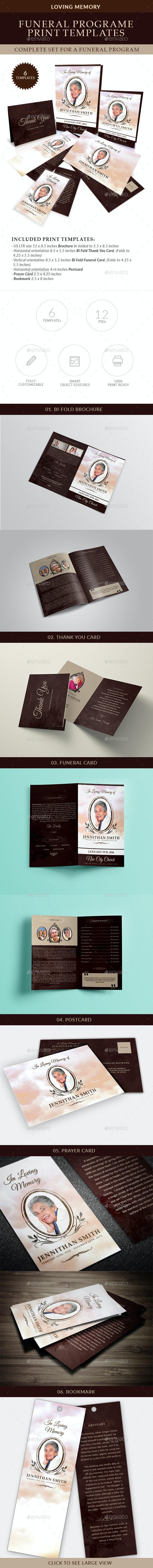 Loving Memory Funeral Print Templates Combo Set - Miscellaneous Print Templates