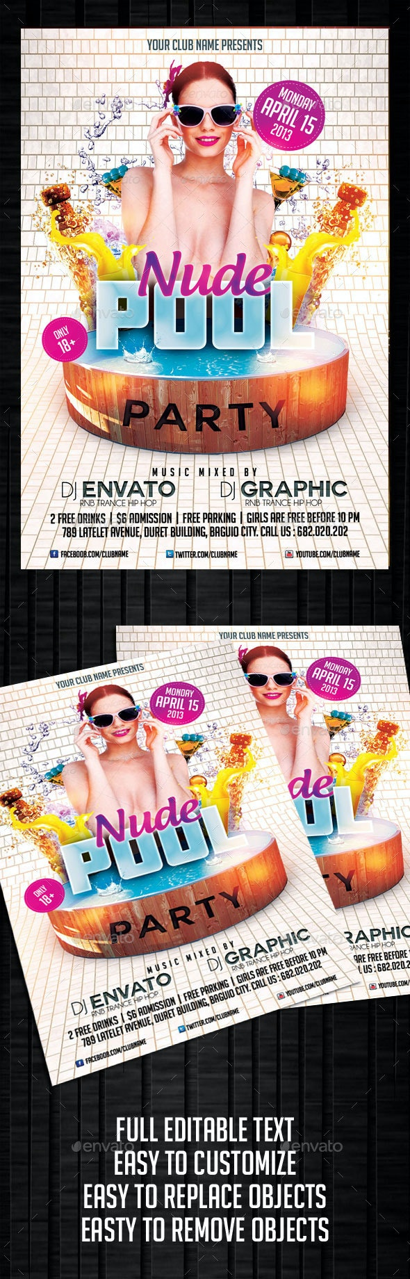 Nude Pool Party Flyer Template - Clubs & Parties Events