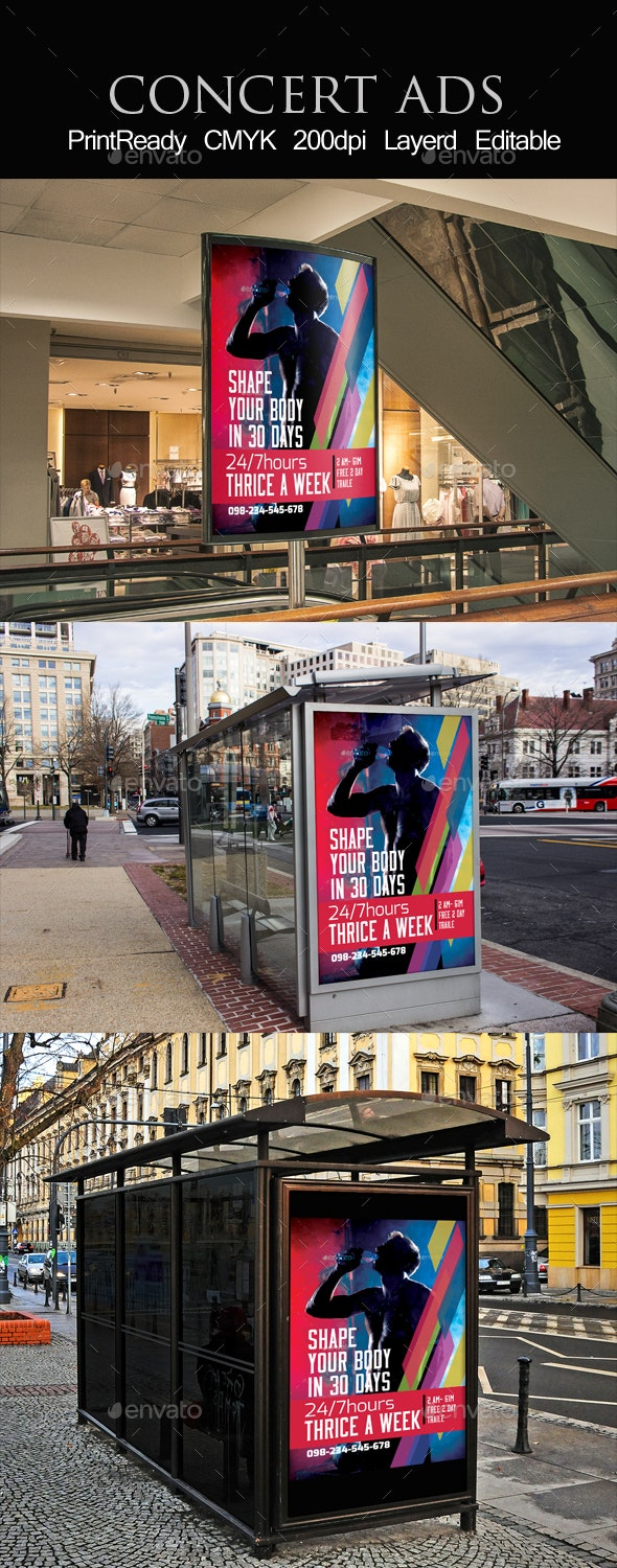 Bus Stop Billboard Ad Template - Signage Print Templates