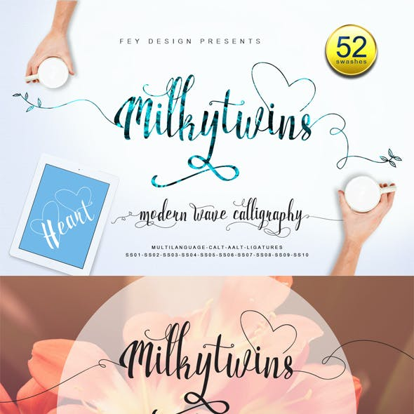 Milkytwins Modern Wave Calligraphy