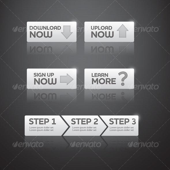 Stylish Gray Web Buttons Set - Buttons Web Elements