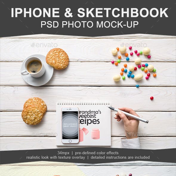 Iphone & Sketchbook Mockup