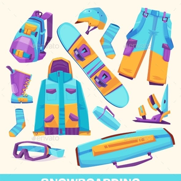 Vector Snowboarding Elements, Clothes And Tools