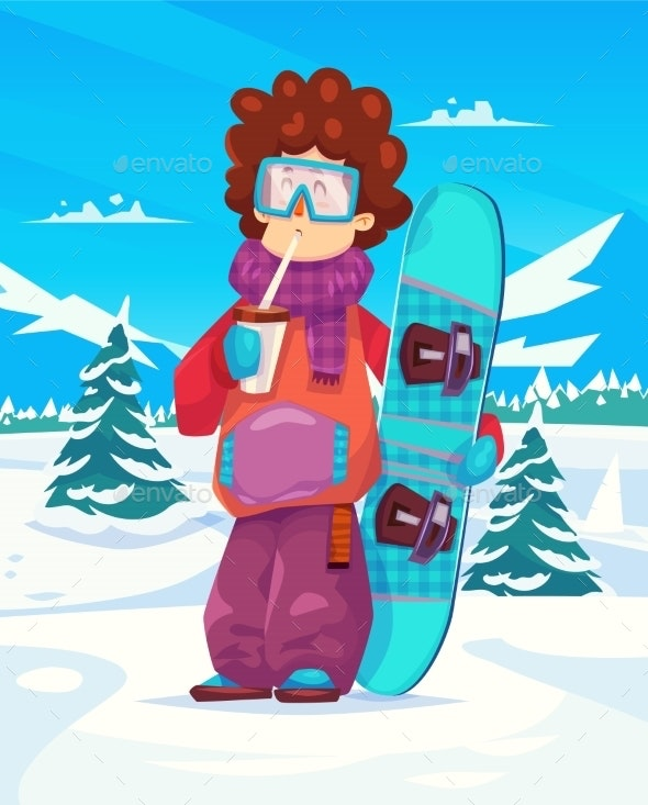 Snowboard Resort Holidays . Snow Background. Flat - People Characters