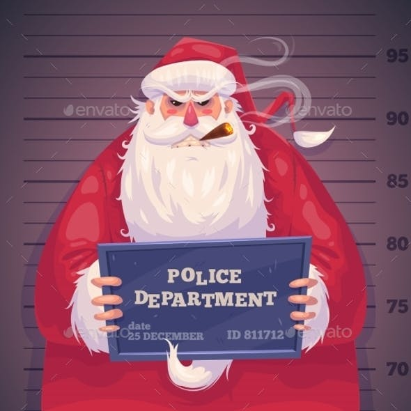 Bad Santa In Police. Christmas Greeting Card