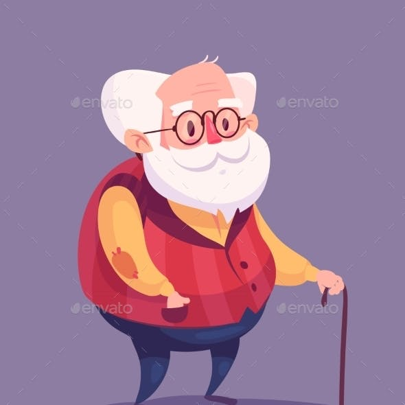 Funny Old Man Character. Isolated Vector