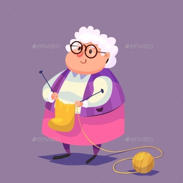 Funny Old Woman Character. Isolated Vector
