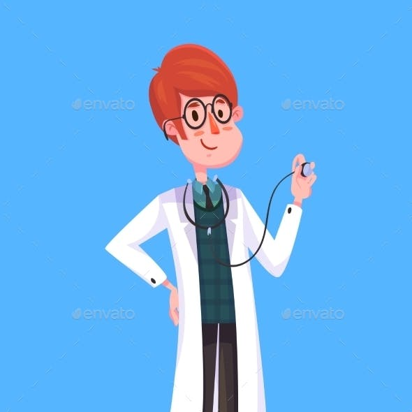 Funny Doctor Character. Isolated Vector