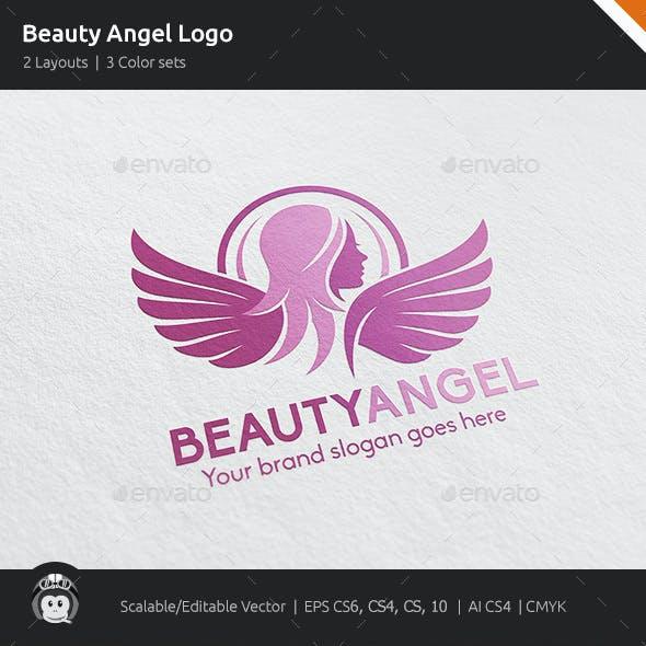 Beauty Angel Woman Wings Logo