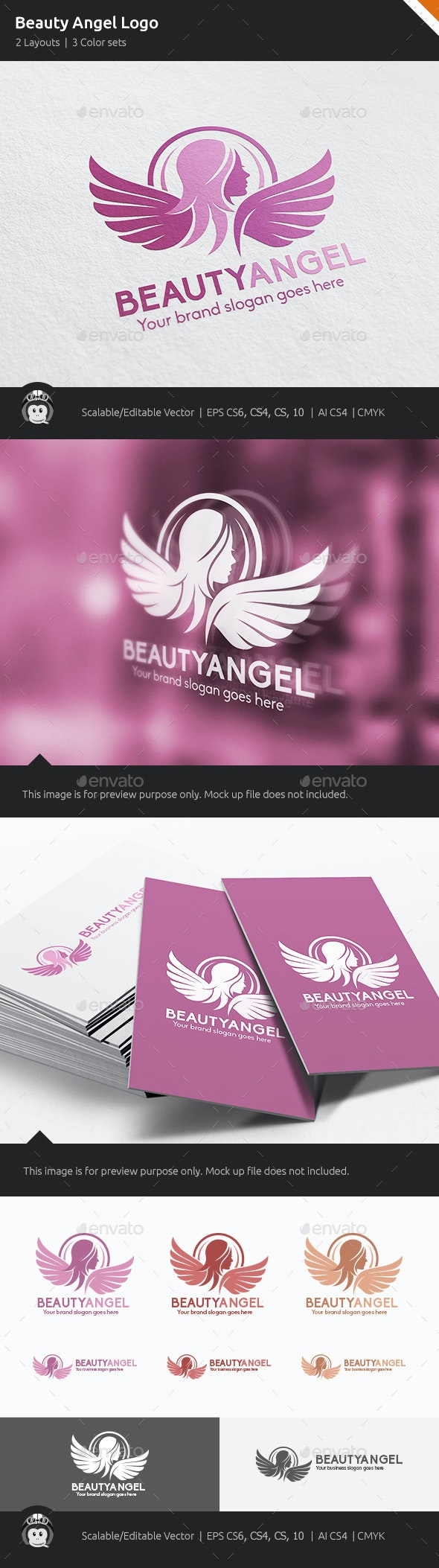 Beauty Angel Woman Wings Logo - Humans Logo Templates